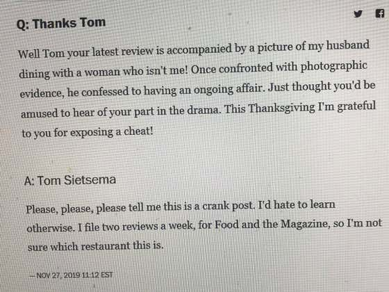 A Washington Post Food Critic Accidentally Blows Up The Spot Of A Cheating Husband
