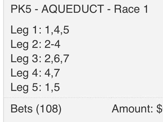 Early Pick Five at Aqueduct