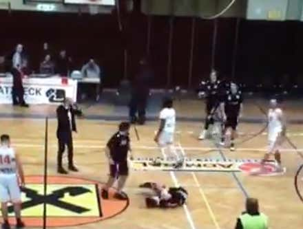 European Basketball Coach Graciously Accepts Loss - Just Kidding, He Sneaks Up On An Opposing Player And Karate Kicks Him