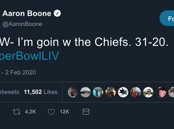Aaron Boone Outed Himself as a Time Traveler And Predicted The Exact Score Of The Super Bowl