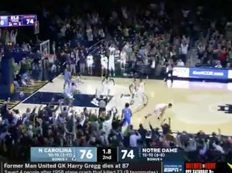 Notre Dame with a game winning three to bust UNC +170 ML bettors.  Also saves a UNC +4 sweat in OT.