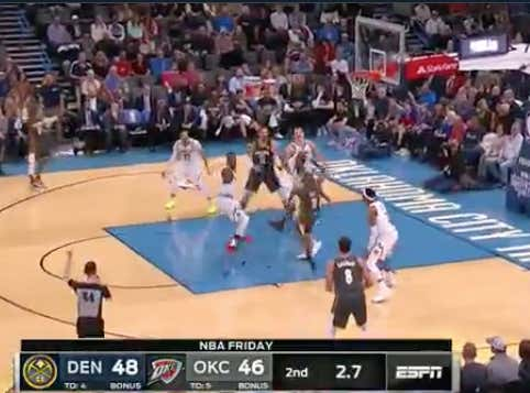 CP3 with a circus layup to cover 1H +1 as he ties it up against the Nuggets to go into the half