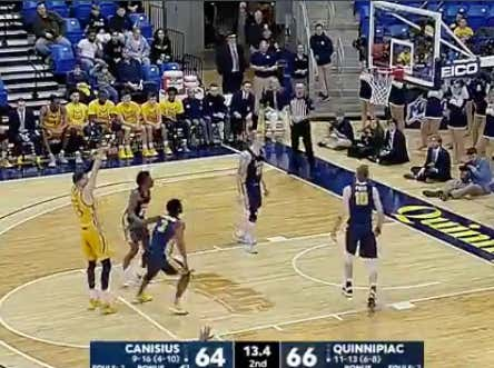 Quinnipiac (-2) misses a free throw with 13 seconds left as they win by two and push