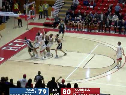 Yale with a late bucket to win and bust Cornell +670 ML bettors
