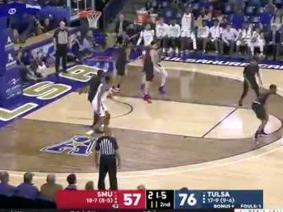 Tulsa hits a three on the final shot attempt of the game to hit the over (134)