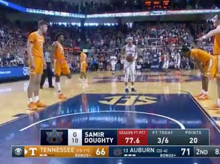 Tennessee led 54-37 with 14:35 to go and a had a 95 percent win probability.  Auburn closed the game on a 36-12 run to win and cover -6.5 on these free throws.