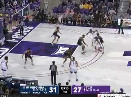TCU with a layup in the final seconds of the half to push the 1H total (60)