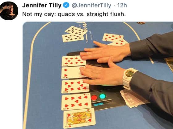 Jennifer Tilly Losing Quads To A Straight Flush Shows It Doesn't Matter Who You Are Or What Stakes You Play, The Poker Gods Show No Mercy