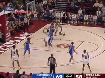 Texas A&M pushes the total (129) with the final shot of the game