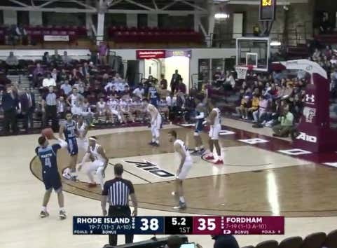 Rhode Island pushes the 1H spread (-6) with a three on the last shot of the half