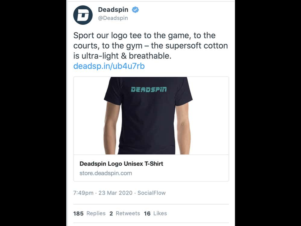 """Deadspin Instructs 1 Million+ Followers To Break Quarantine And Social Distancing Safety Guidelines To Go To """"The Game, The Courts, The Gym"""" — All Just To Sell Some T-Shirts"""