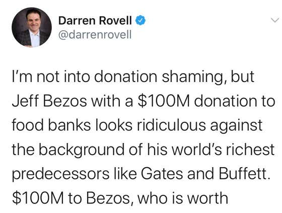 Darren Rovell Shames Jeff Bezos For Donating ONE HUNDRED MILLION DOLLARS To Food Banks
