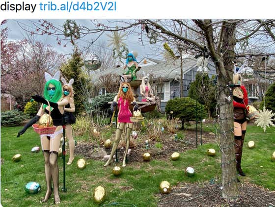 """Guess What Kind Of Professional Created A Sexy """"Bunny"""" Mannequin Display On Their Front Yard???"""