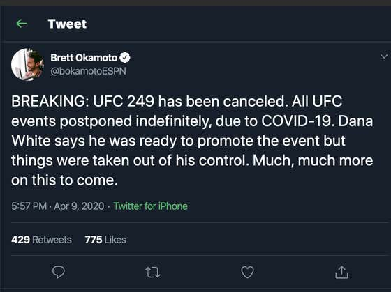 UFC 249 & All UFC Events Going Forward Are Now Postponed Indefinitely Due To COVID-19