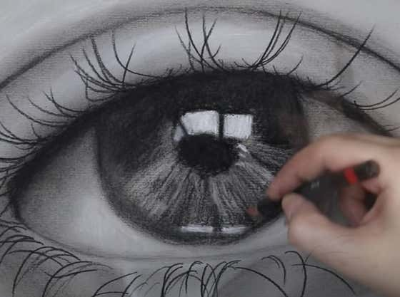 Go To Bed With ASMR Charcoal Eye Drawing