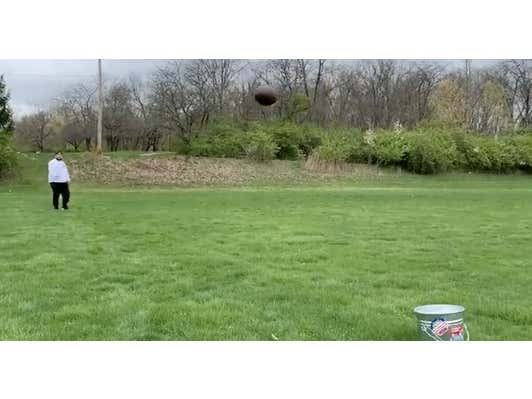 Quarantine Challenge: How Many Throws Does It Take A Fat Blogger To Drop A Football In A Bucket From 20 Yards Out?