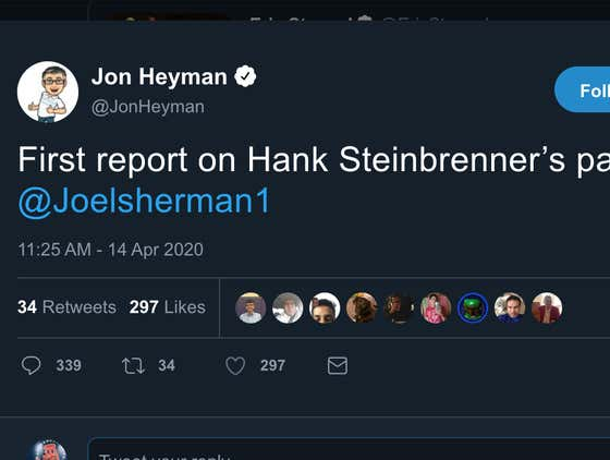 Jon Heyman Is Here To Let You Know Who Was The First To Report On The Death Of Hank Steinbrenner