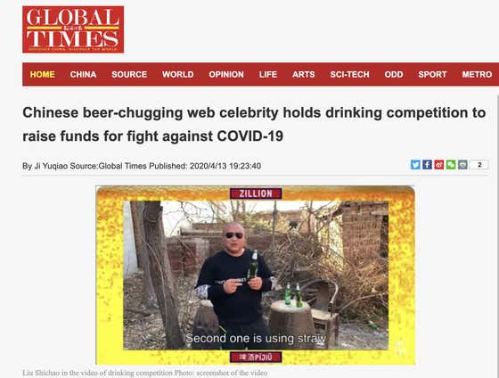 Barstool's Hit New Drinking Competition Featured in the Official Newspaper of the Chinese Communist Party