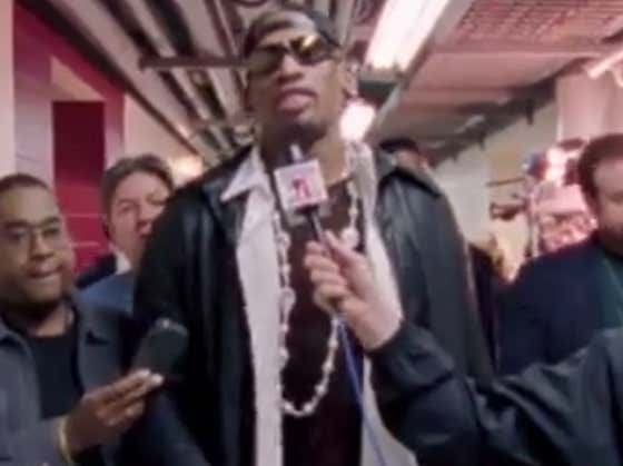 Dennis Rodman Cranking Miller Lites While Talking To Reporters Is Legendary