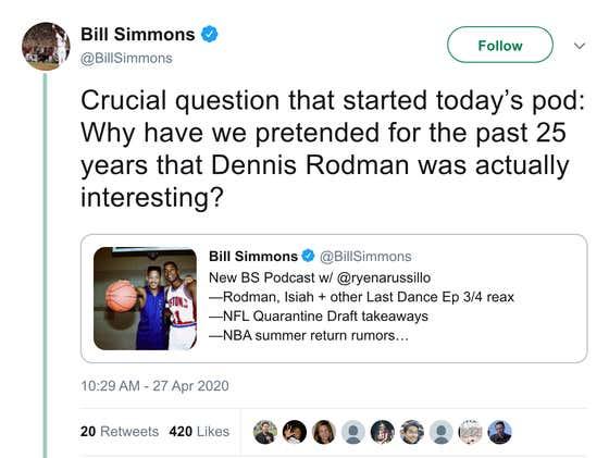 Bill Simmons Says Dennis Rodman Wasn't Interesting