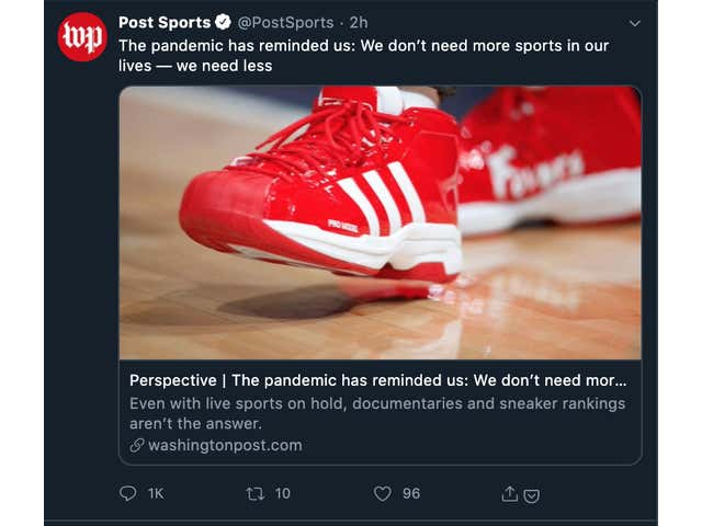 """Washington Post Opinion Piece Argues COVID-19 Pandemic Proves Why We Need """"Less Sports,"""" Twitter Account Gets Ratio'd To Hell"""