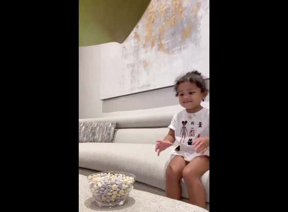 You Will Not See A Cuter Video This Year Than Kylie Jenner's Daughter Stormi Stopping Herself From Eating M&Ms
