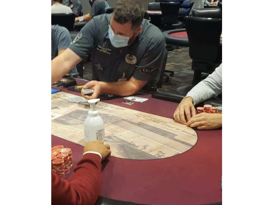 A Poker Room In Florida Has Re-Opened And Is Using A Bottle Of Hand Sanitizer As The Dealer Button