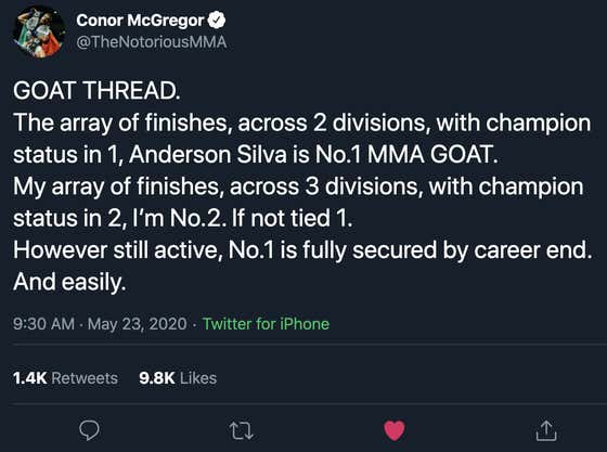 Conor McGregor Finally Answers The Question: Who Is The GOAT?