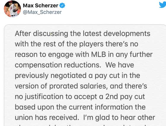 Max Scherzer Tweets That The Players Are Done Negotiating After Yesterday's Joke of a Proposal And Pretty Much Dares The Owners To Open Their Books