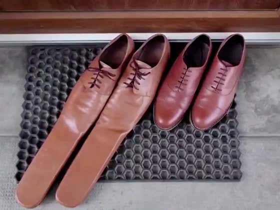 Shoemaker Designs Size 75 Shoe To be Used For Social Distancing. No, They Totally Do NOT Look Like Clown Shoes.