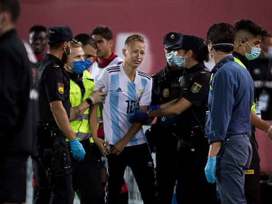 A Fan Broke Into The Stadium And Stormed The Field To Take A Picture With Messi, Cops Make Him Delete The Pictures