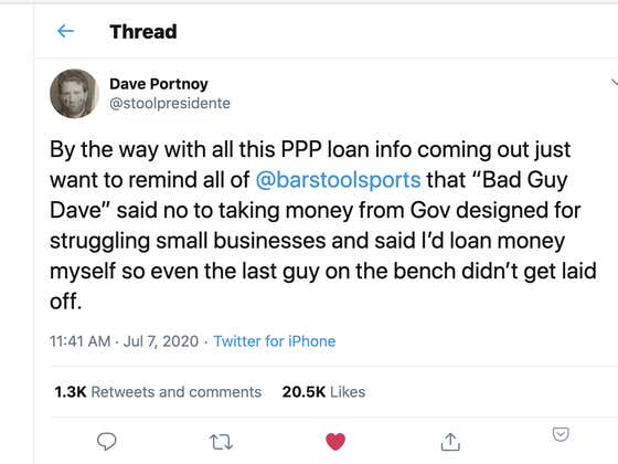 3/4 Of SBA Loans Meant To Help Struggling Small Businesses Went To Private Equity Backed Chains, And Members Of Congress, Newly Released Info Shows. Know Who Didn't Take Any Federal Money? Dave Portnoy, Founder Of Barstool Sports.