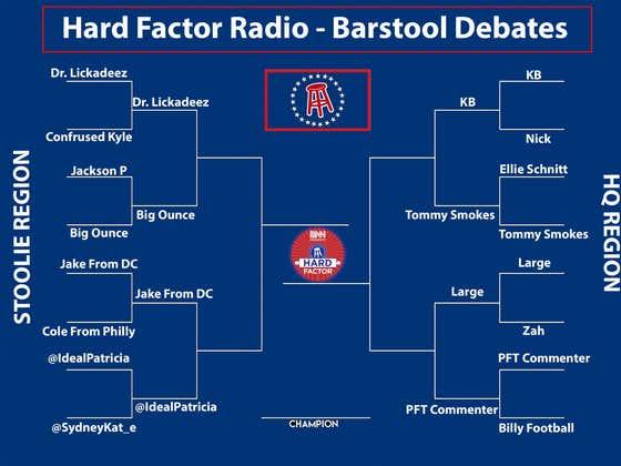 Barstool Debates Rd. 2, Listener side: Dr. Lickadeez v. Big Ounce