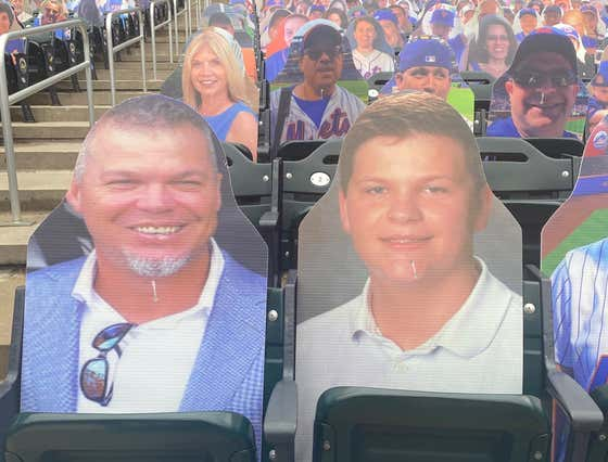The Goddamn Mets Somehow Allowed Cardboard Cut Outs Of Chipper Jones And His Son Shea To Be Placed In The Citi Field Stands Before Today's Game Against The Braves