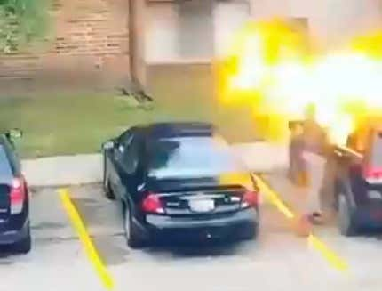 Must See Video: A Michigan Woman Damn Near Blows Her Own Face Off Setting Fire to a Jeep