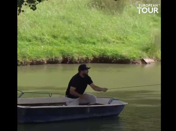 A Golfer On The European Tour Had To Take A Boat Out To An Island To Get To His Ball