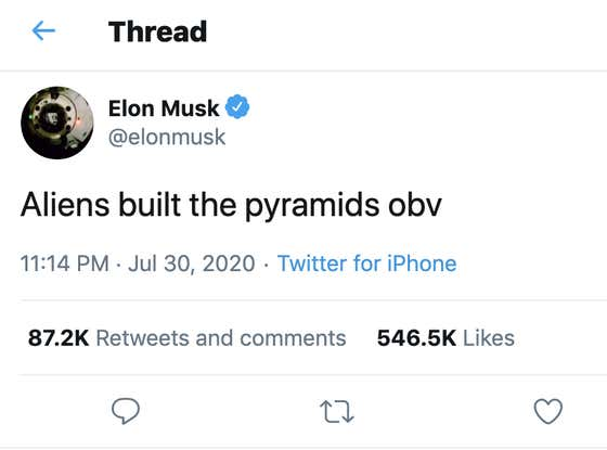 Egypt Goes On The Record Officially And Tells Elon Musk That The Pyramids Were NOT Built By Aliens