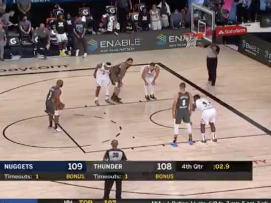 Chris Paul goes 1 of 2 from the line to send the Thunder (-5.5) into overtime versus the Nuggets