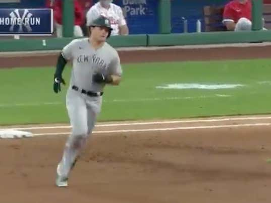 Luke Voit with an early solo shot to give the Yankees (-130) a 1-0 lead in the 2nd game of their double header @betthebases