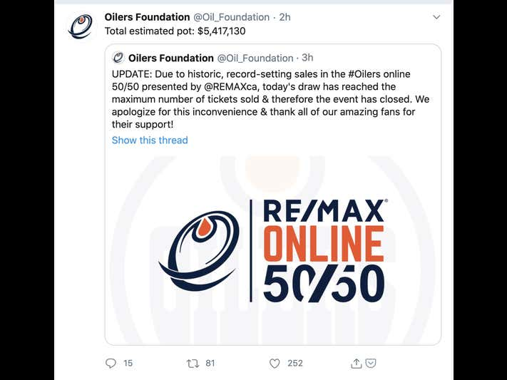 Holy Fuck Canada. Oilers Blackhawks 50/50 Raffles Smashes Monday Nights Record. At Over $5 MILLION 3 Hours Before Puck Drop