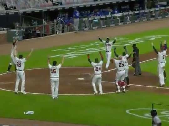 Nick Markakis with the walk off for the Braves (-125 ML) @betthebases