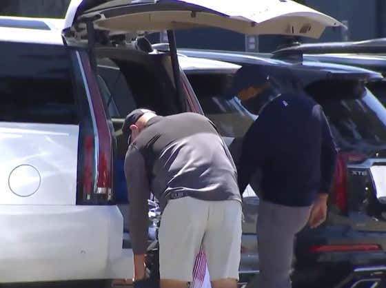Relatable Golf Content: Tiger Woods Changing His Shoes In The Parking Lot At The PGA Championship