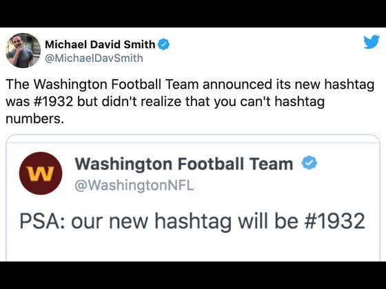 """Growing Pains: The Washington Football Team Made Their Official Hashtag """"#1932"""", Despite The Fact You Can't Hashtag Numbers"""