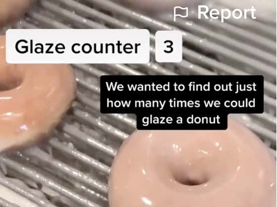 Here's What Happens When You Put A Krispy Kreme Donut Through The Glaze Fountain 25 Times