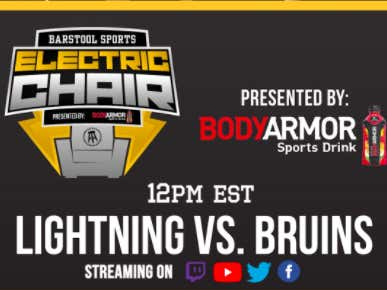 Biz, Whit And RA Are LIVE Right Now On The Chiclets Twitch Doing An Electric Chair For Bruins vs Lightning - Presented by BODYARMOR