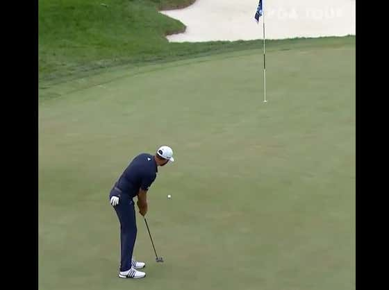 Look At This Ridiclous Putt Dustin Johnson Made To Force A Playoff With Jon Rahm At The BMW Championship