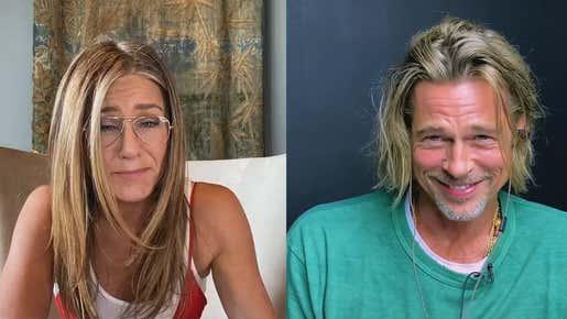 We Simply Cannot Stop Watching Brad Pitt & Jennifer Aniston'S Reunion