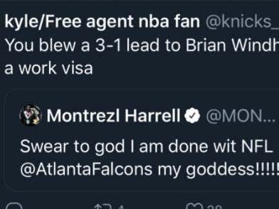 Twitter Was Invented Exactly For This Moment - Montrezl Harrell Tweets About How He's Done With The Falcons Blowing Big Leads Right After Blowing A 3-1 Lead
