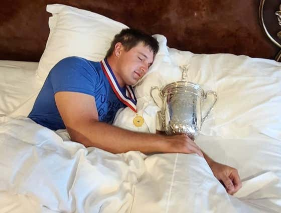 Here We Have Bryson DeChambeau Fake Sleeping With The US Open Trophy