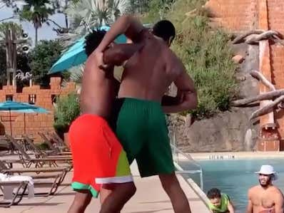 Enes Kanter And Marcus Smart Wrestling At The Pool Two Days Before Game Four Has Me Very, Very, Nervous